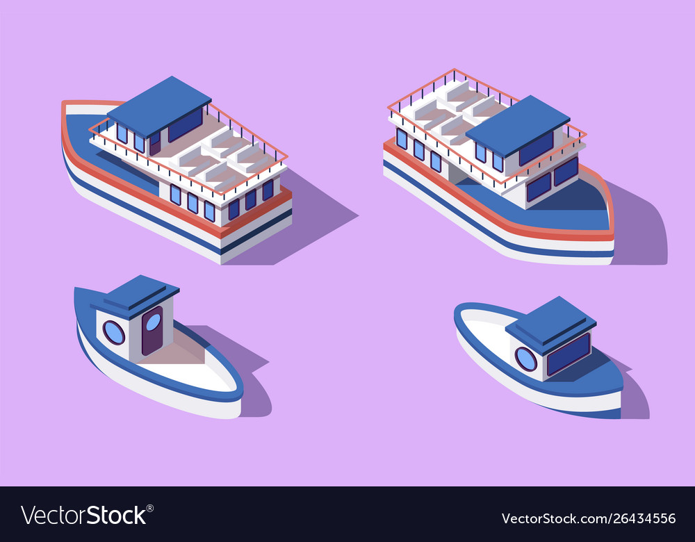 3d isometric big and small boat and barge