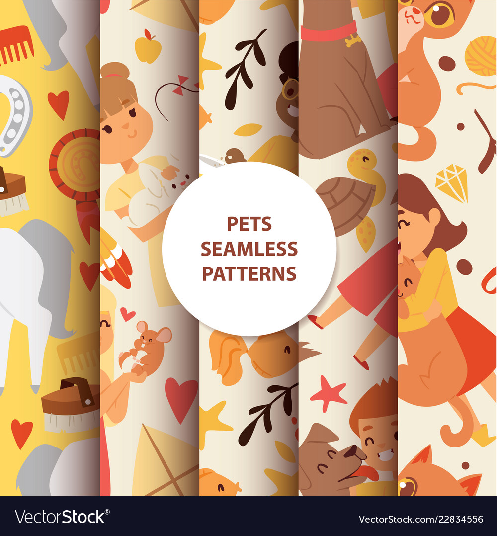 Animals seamless pattern with kids characters and