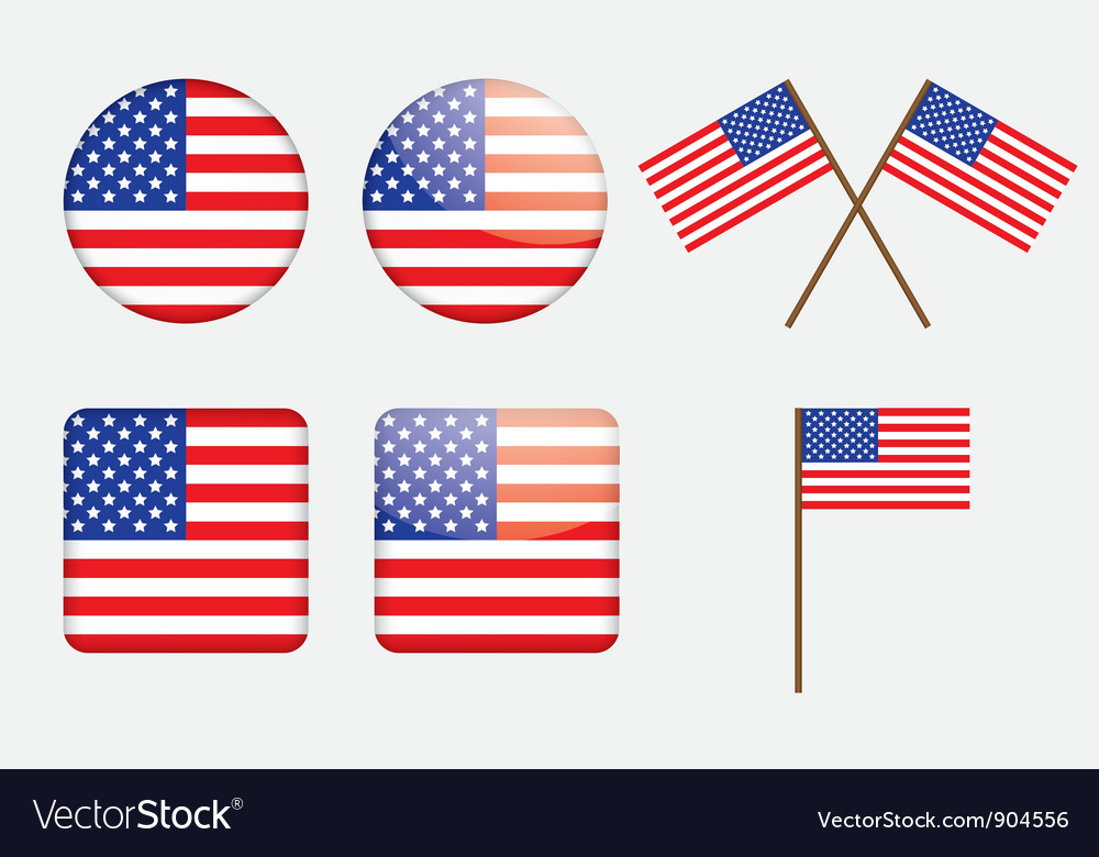 Badges with United States flag vector image