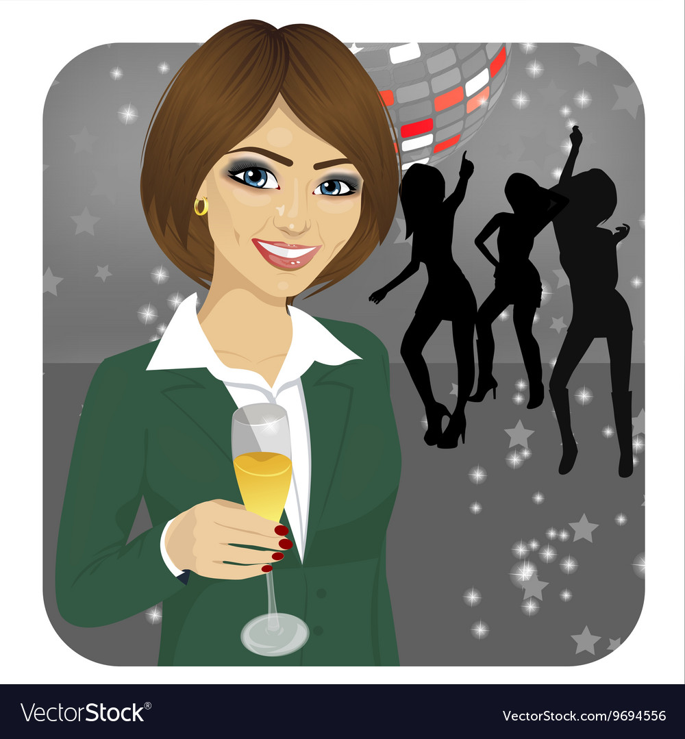 Businesswoman holding glass of champagne
