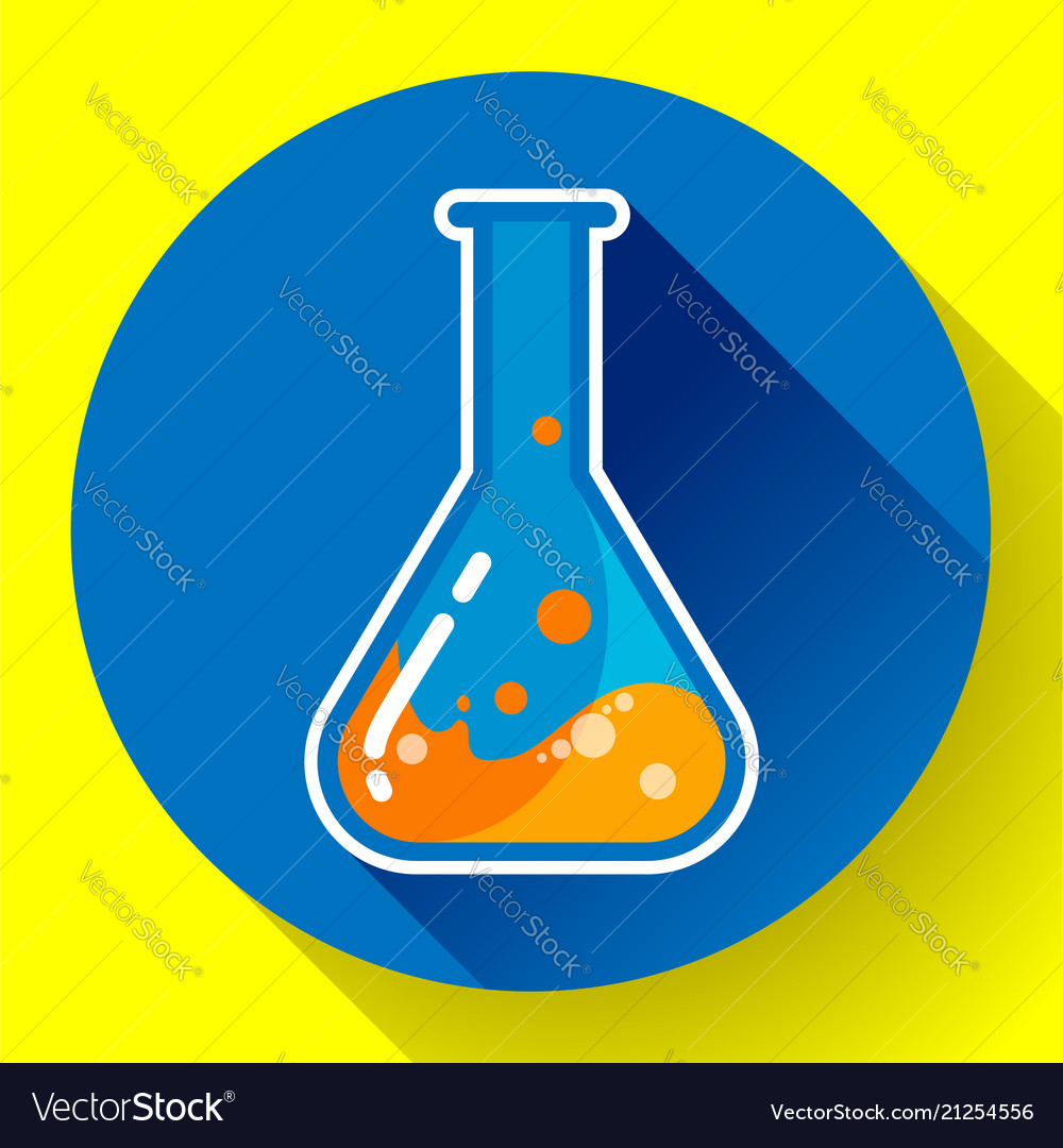 Chemical lab flask with liquid icon flat design