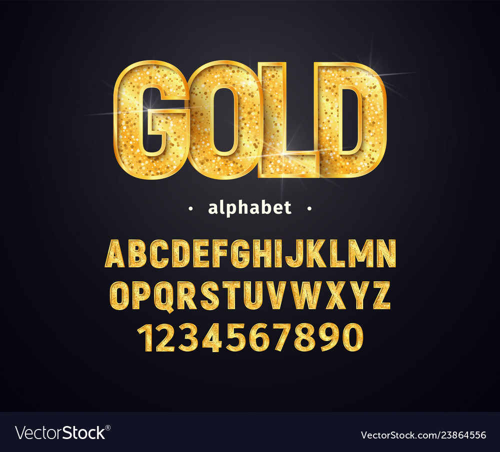 Golden alphabet set gold letters and