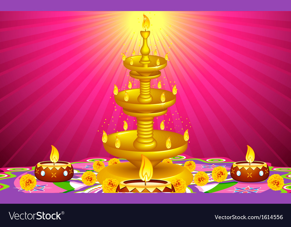 Golden Diya Stand vector image