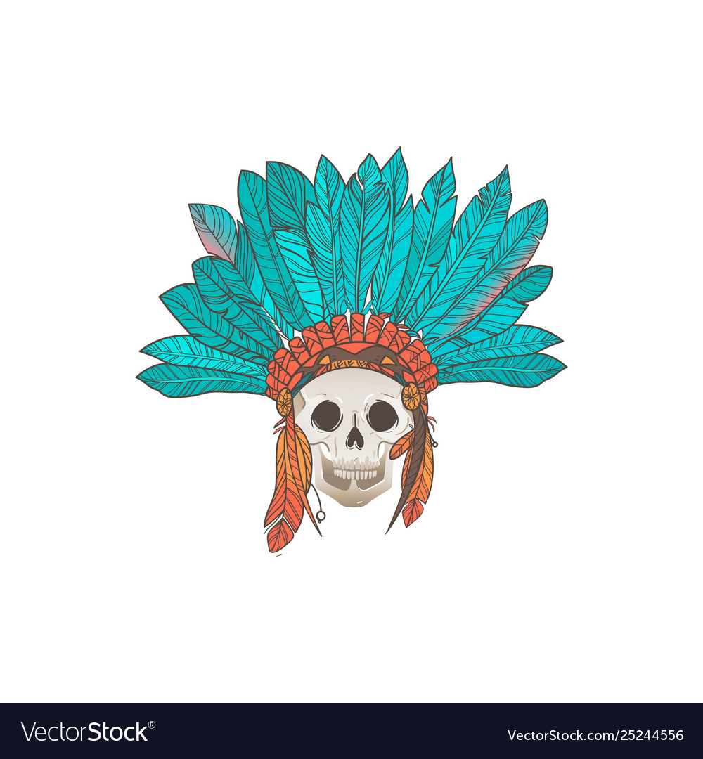 Human skull with american indian feather headdress
