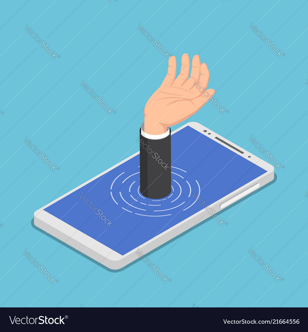 Isometric businessman hand get drowned in