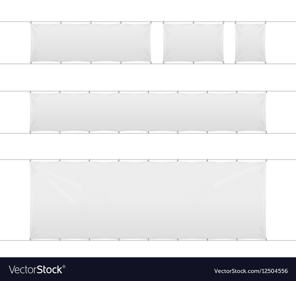Realistic Blank Banner Textile Set