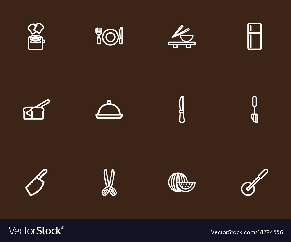 Set of 12 editable cooking outline icons includes