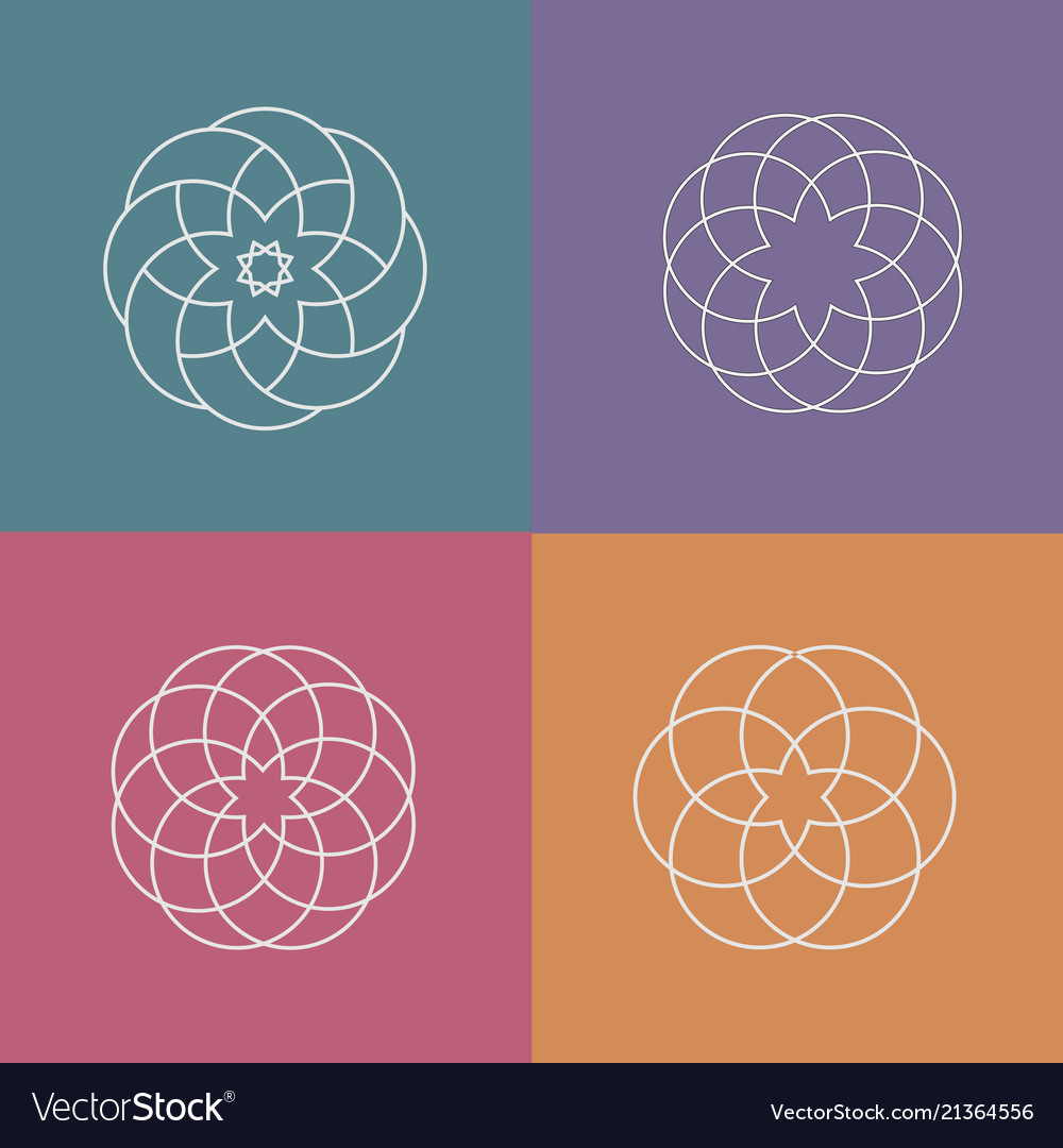 Set of linear abstract pattern logos vector image