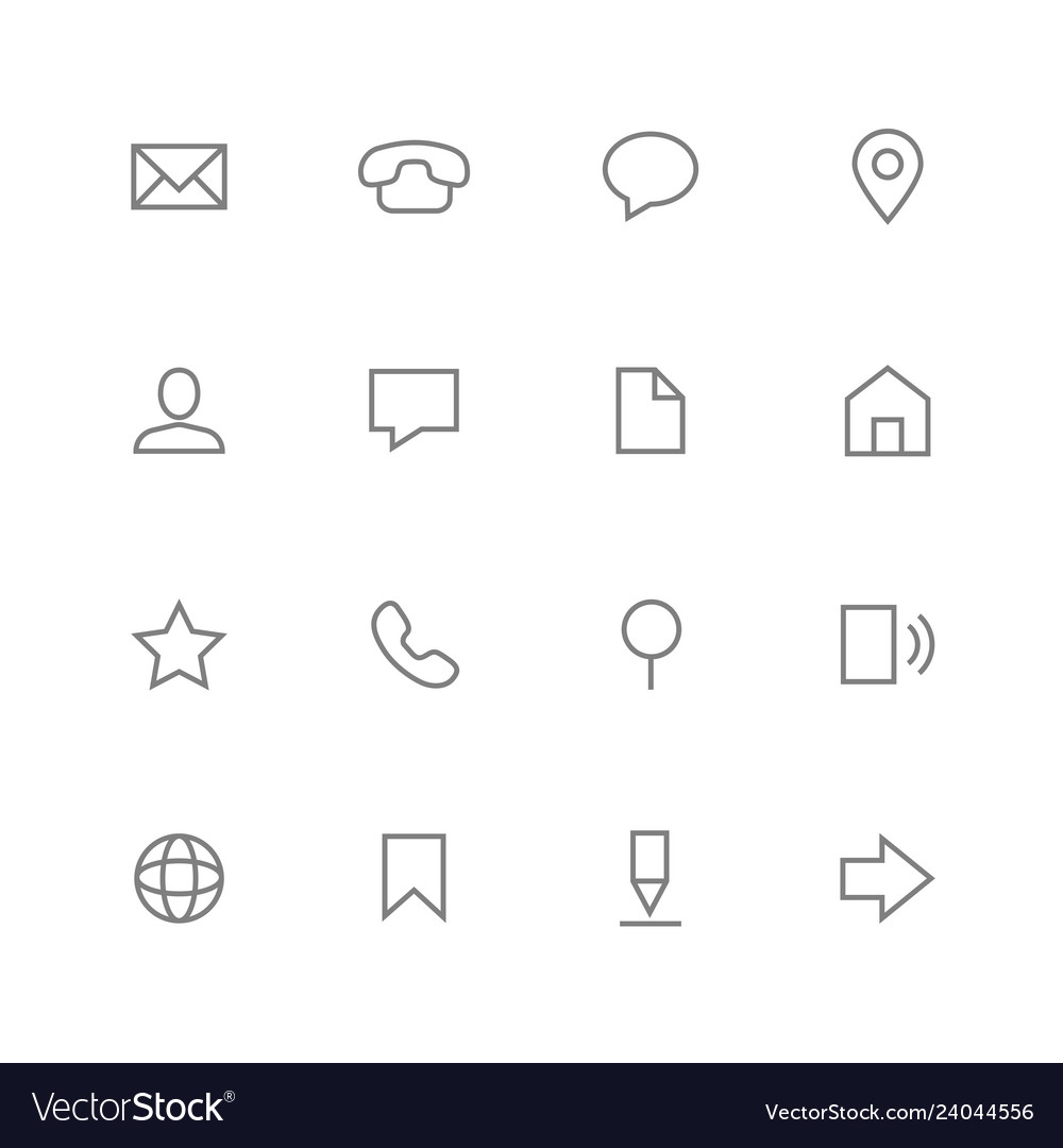 Set simple outline icons contact and web