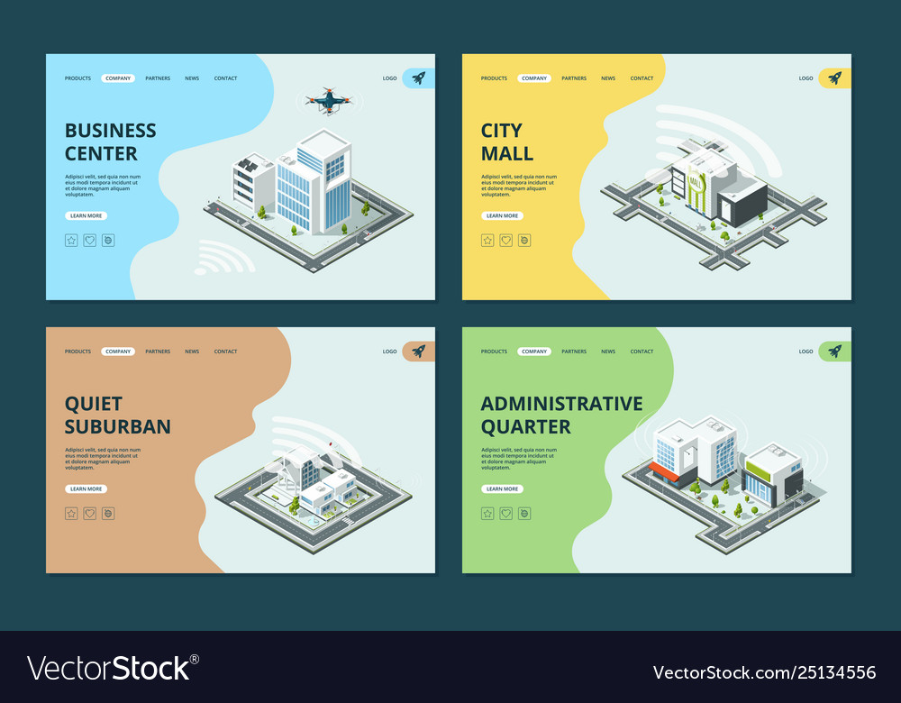 Smart city website landing pages template with