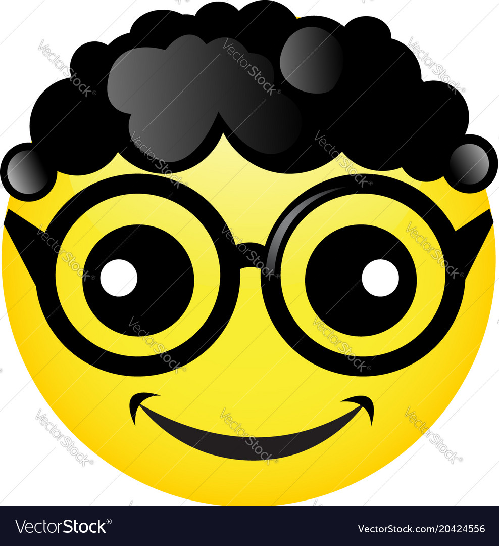 Smile With Black Curly Hair And Glasses Royalty Free Vector