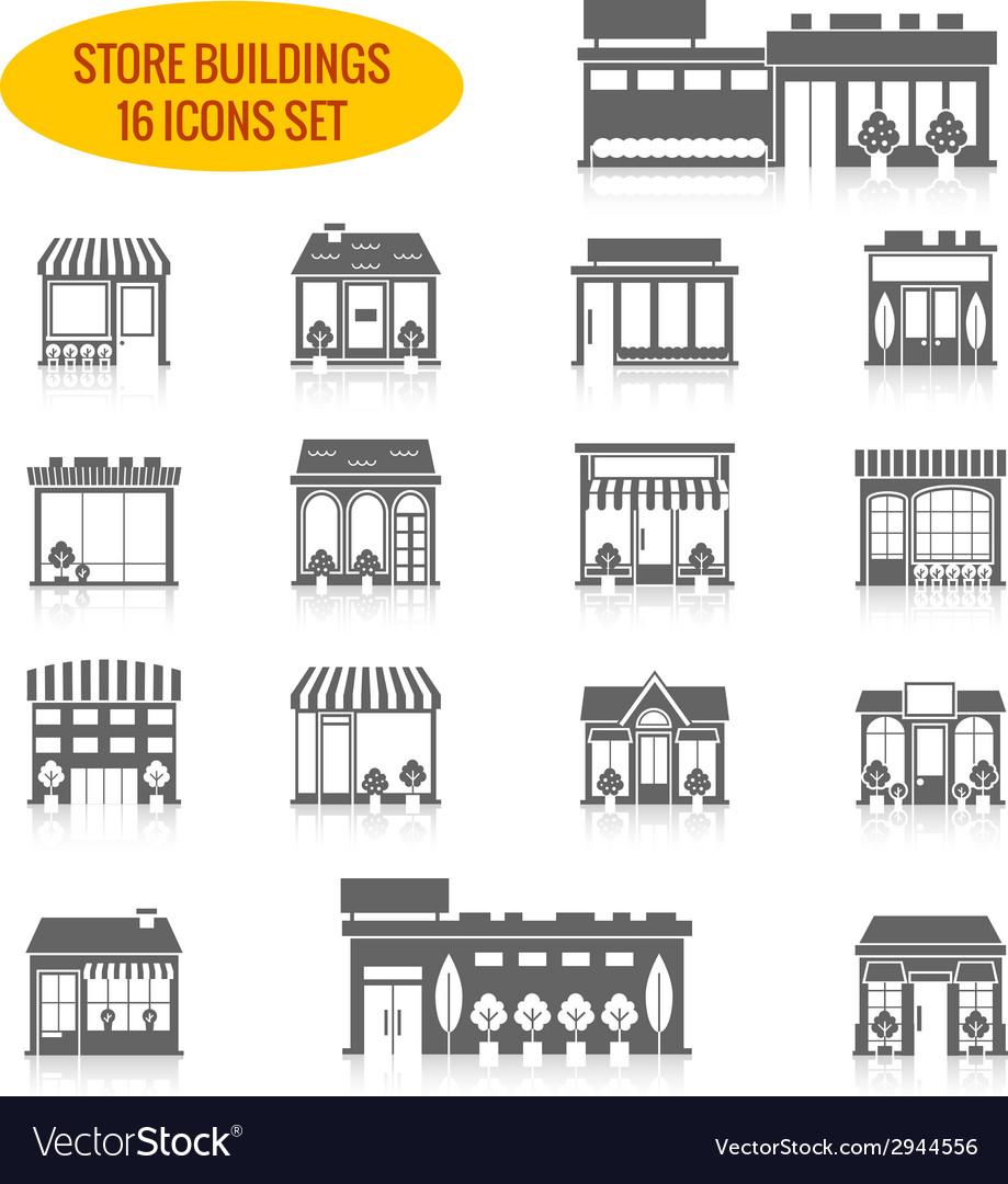 Store building icons set black