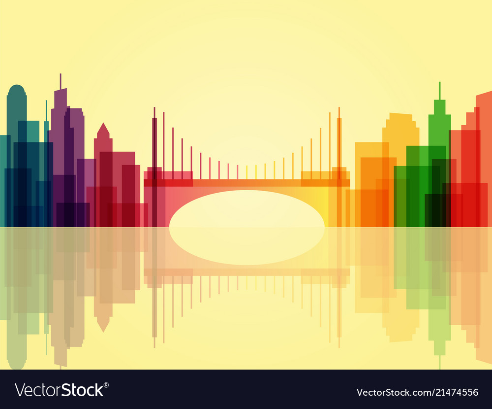 Stylish transparent cityscape background with