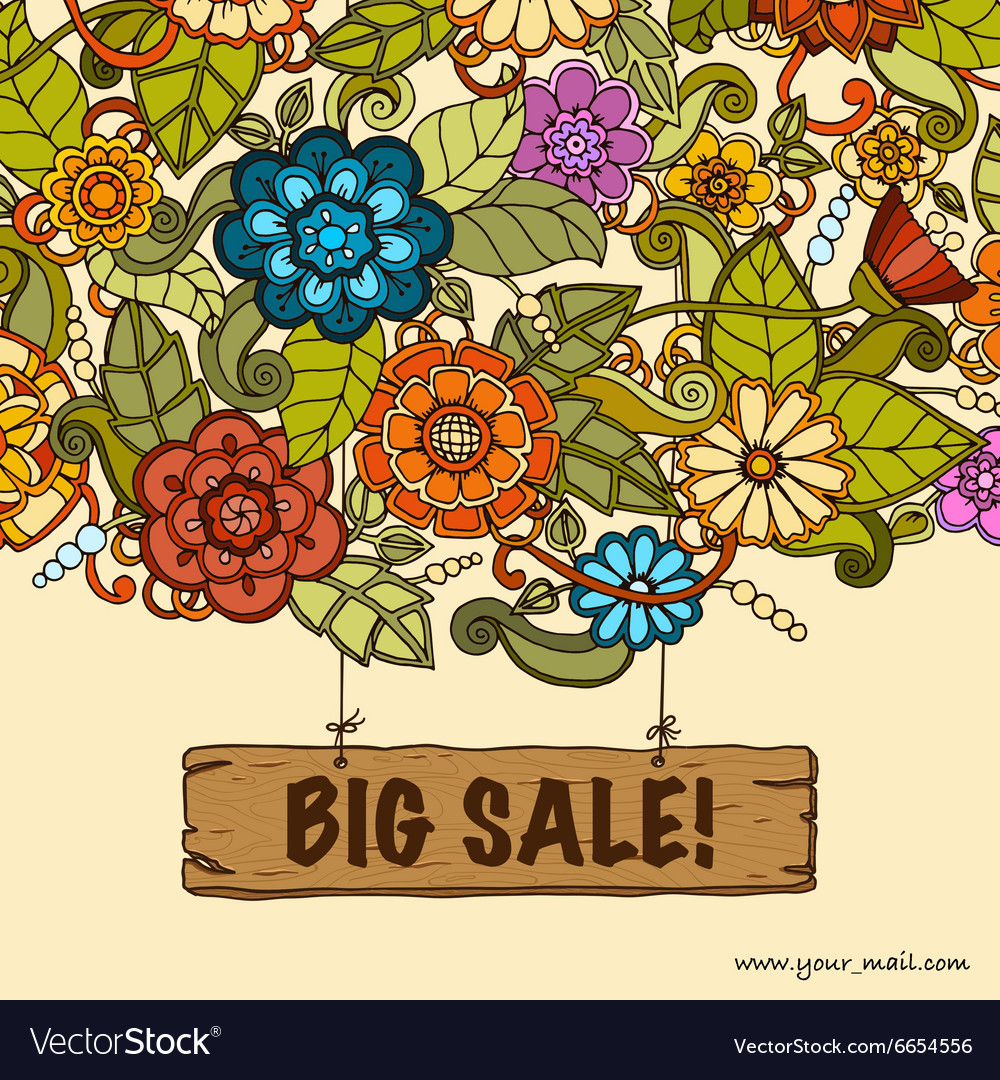 Template with floral doodles Sale banner