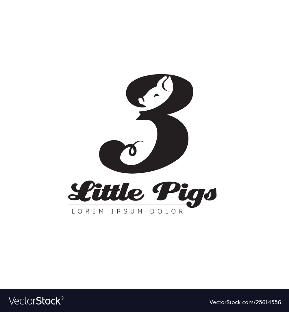 Three little pigs logo based on fairy tale