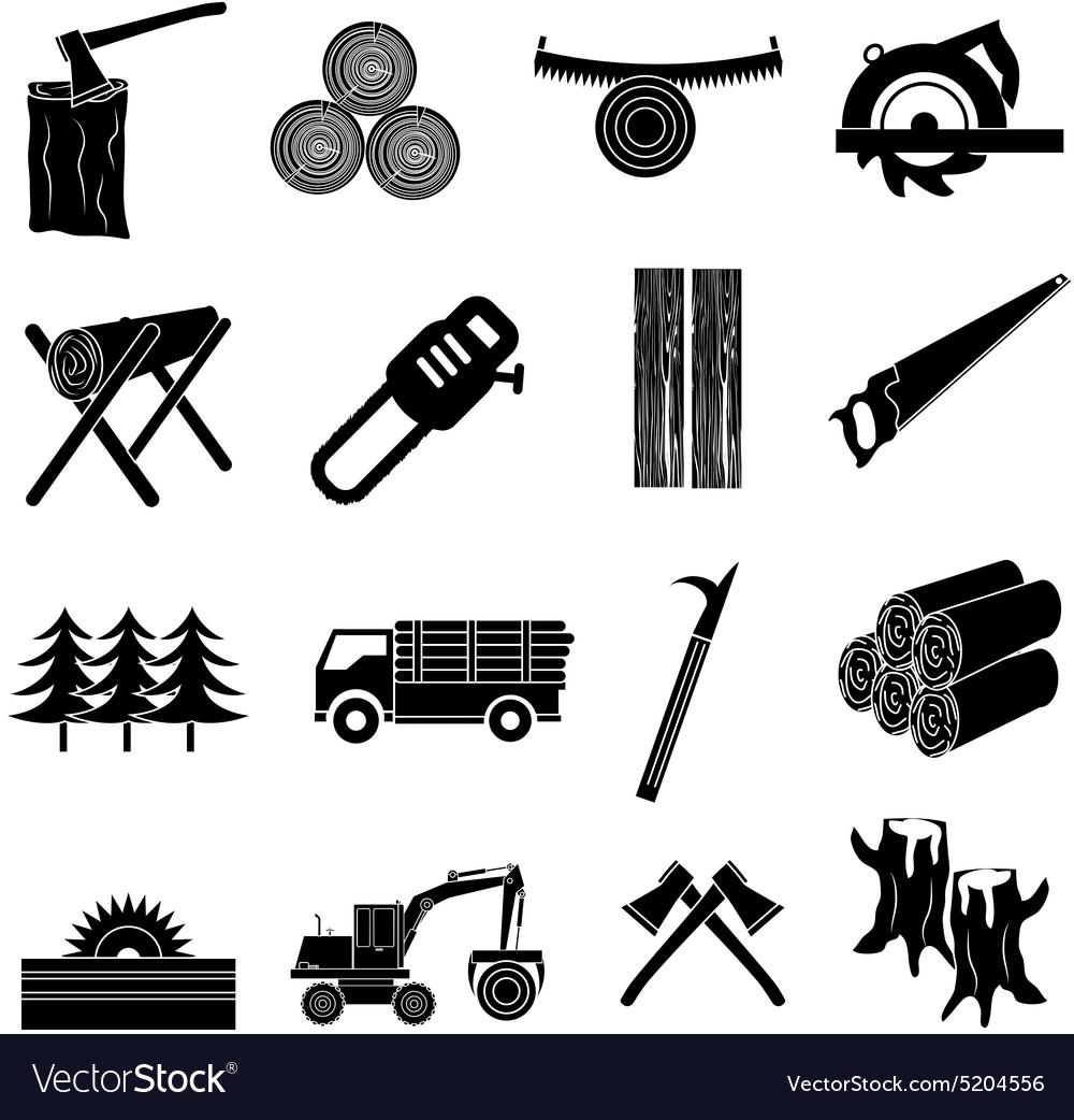 Timber icons set