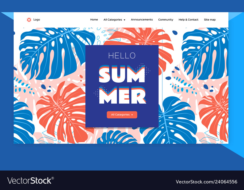 Website template design tropical leaves background