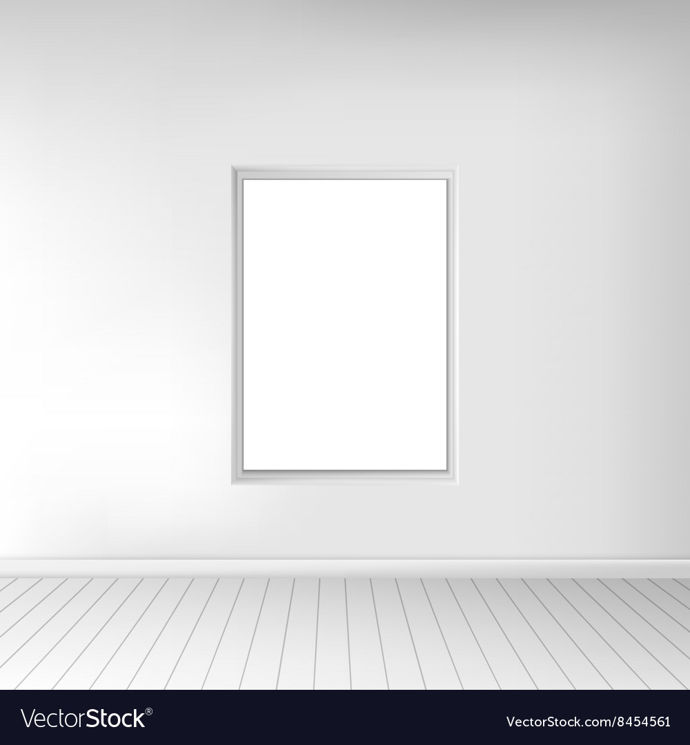 A spacious empty white room with a picture on the