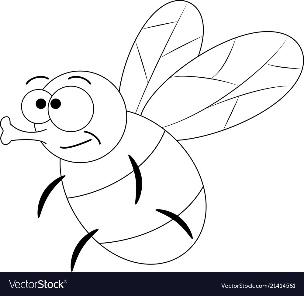Colorless funny cartoon fly