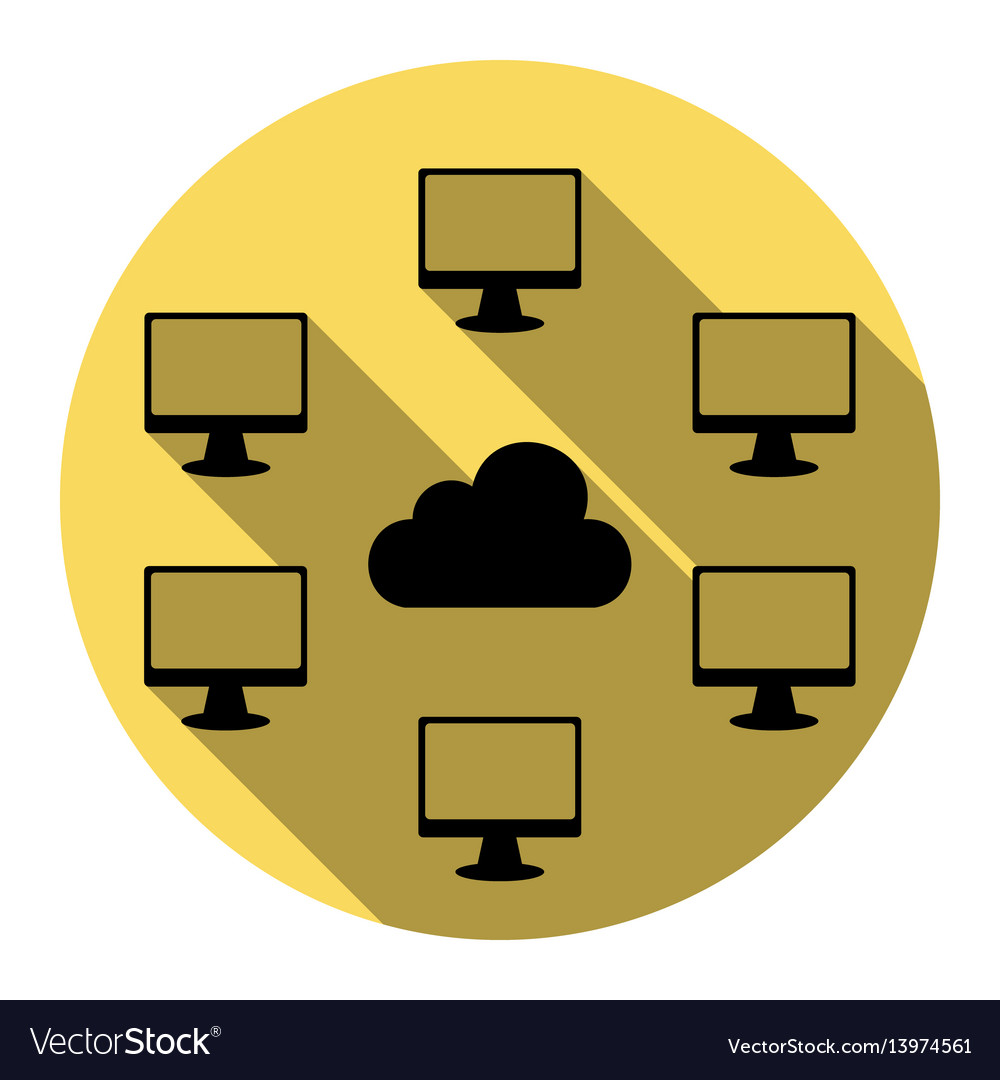 Computers nerk sign flat black icon with