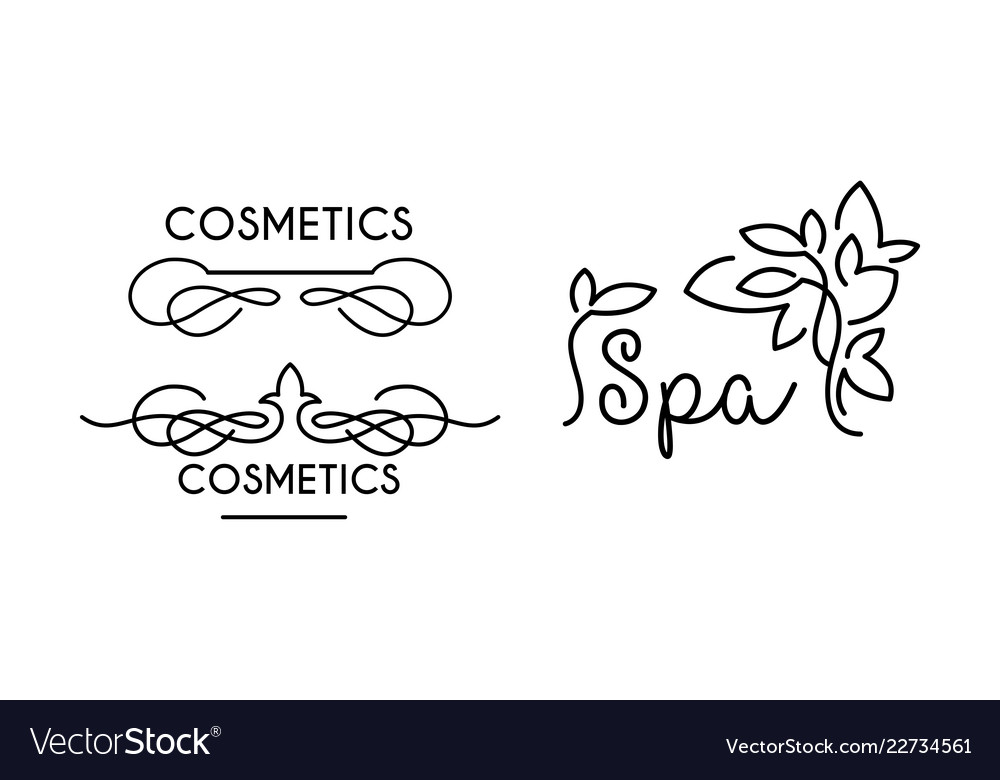 Cosmetic spa linear logo template symbol for spa