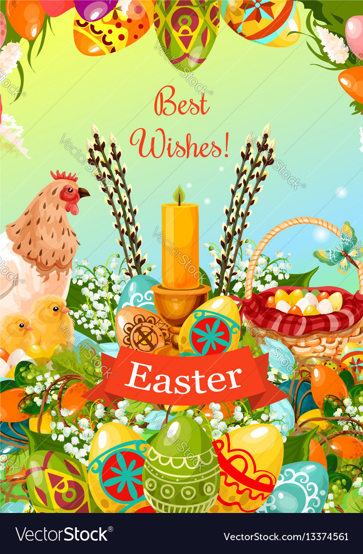 Easter spring holiday cartoon greeting card design