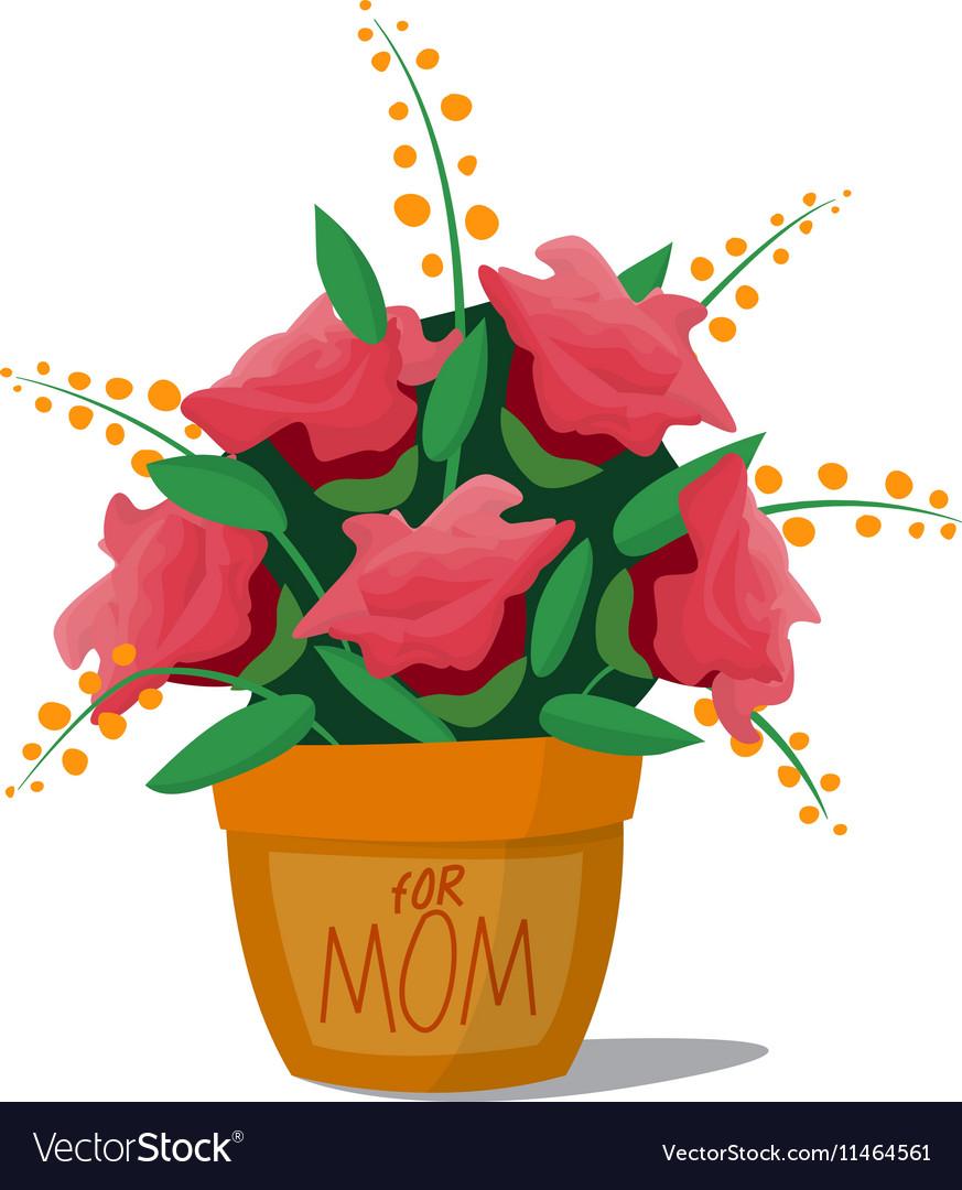 Flower bouquet roses basket vector image