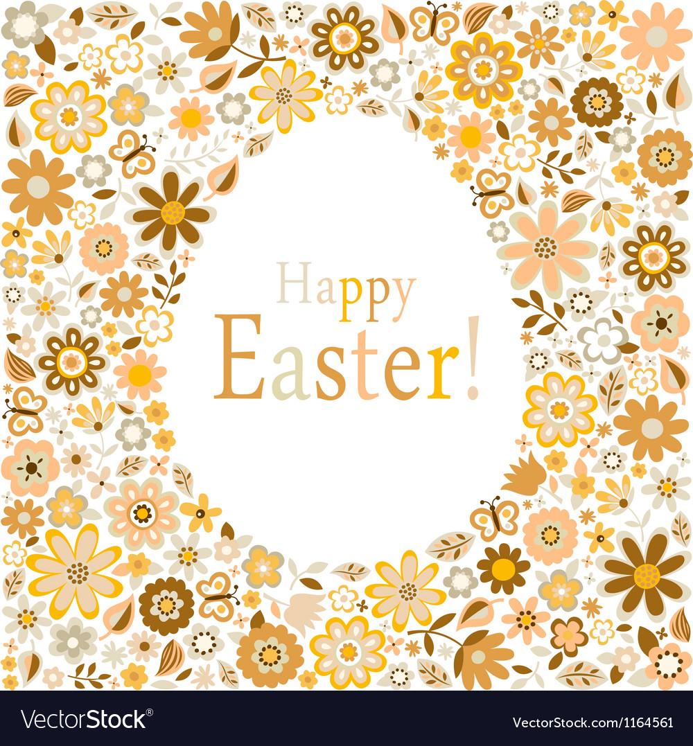 Golden egg floral pattern card