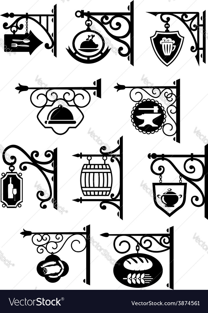 Hanging signboard with vintage forging vector image