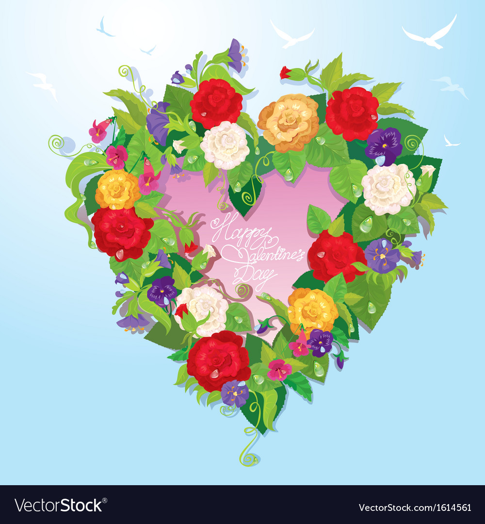 Heart Shape Is Made Of Beautiful Flowers Roses Vector Image