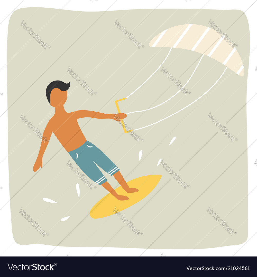 Kite surfer boy catching the wave vintage poster