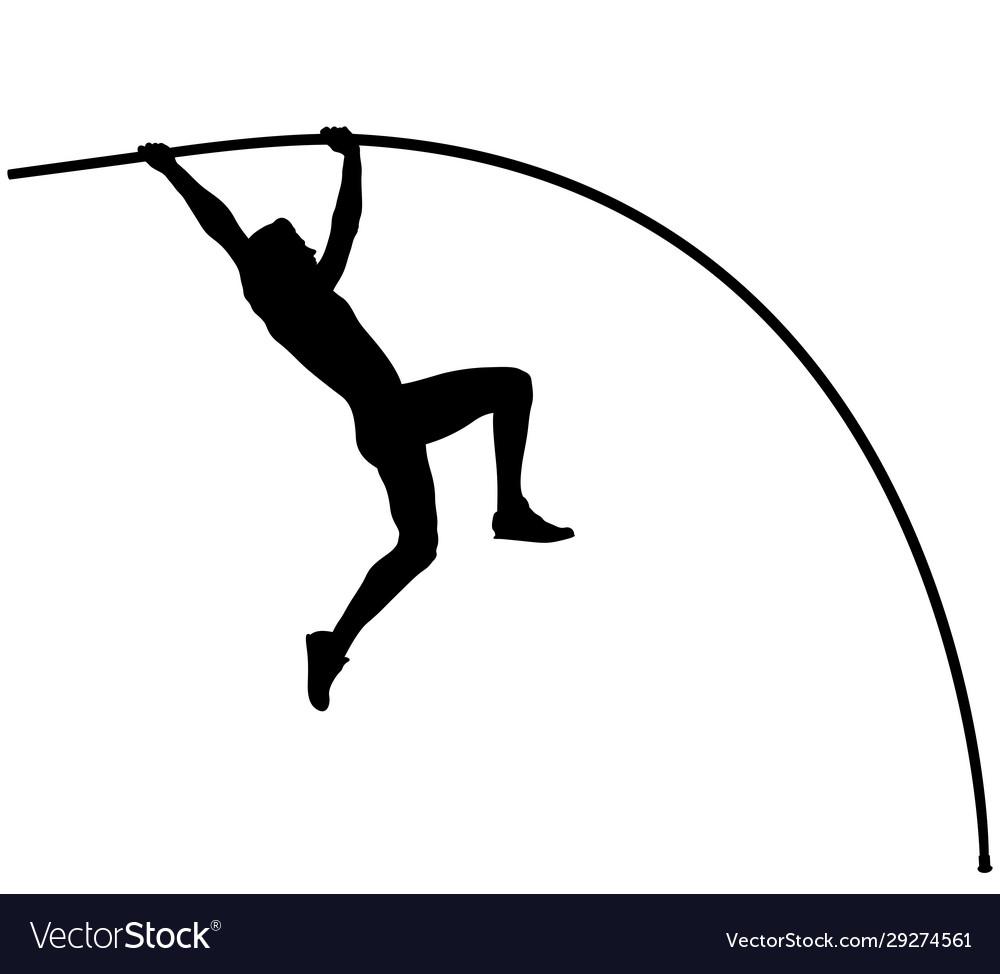 Male athlete pole vaulter in pole vault