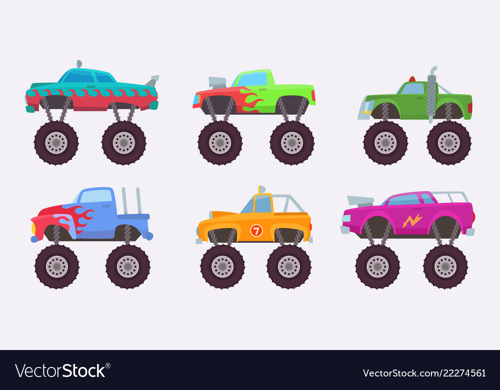 Monster truck big wheels of scary car automobile
