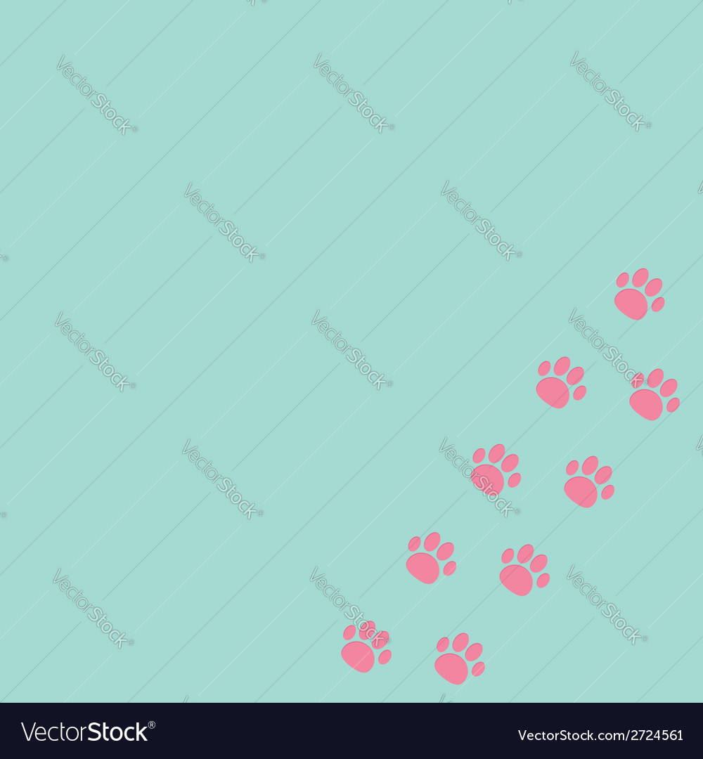 Paw print track in the corner Blue and pink vector image