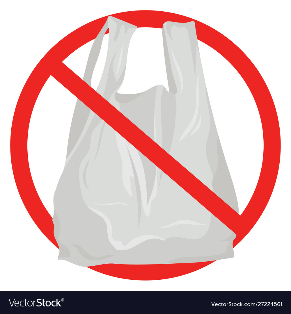 Prohibition sign against plastic bags