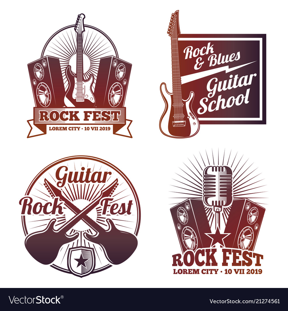 Rock and roll music labels vintage heavy