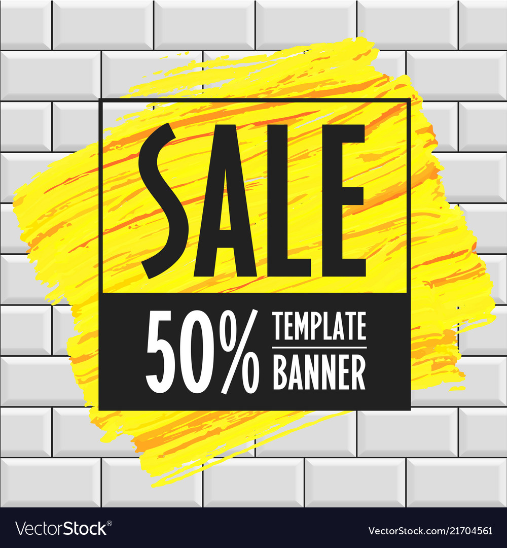 Sale banner template brick wall
