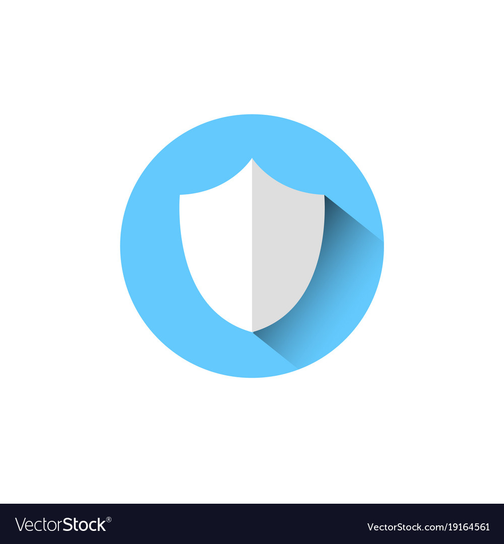 Shield icon blue round on white background vector image