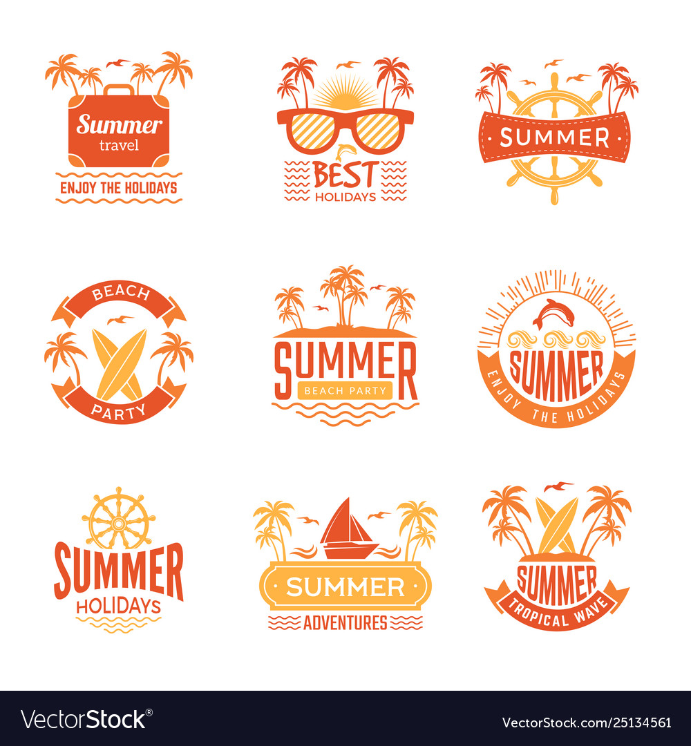 Summer badges travel labels and logos palm tree