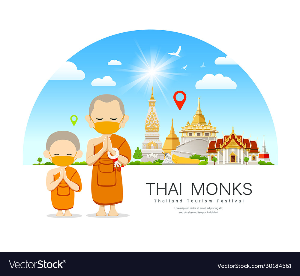 Thai monks and novice with yellow mas temple