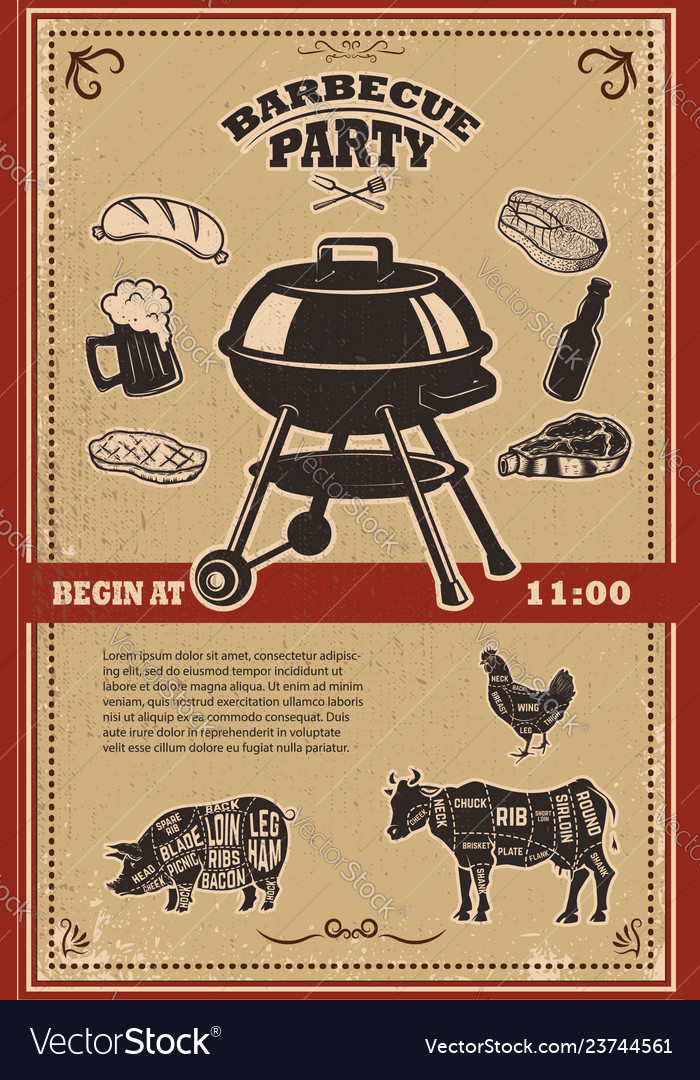 Vintage bbq party poster template grill steak