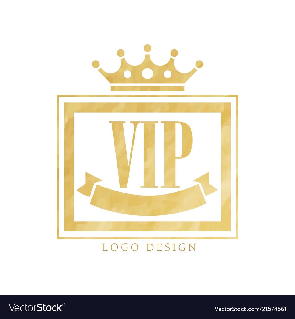 Vip club logo design luxury golden elegant badge