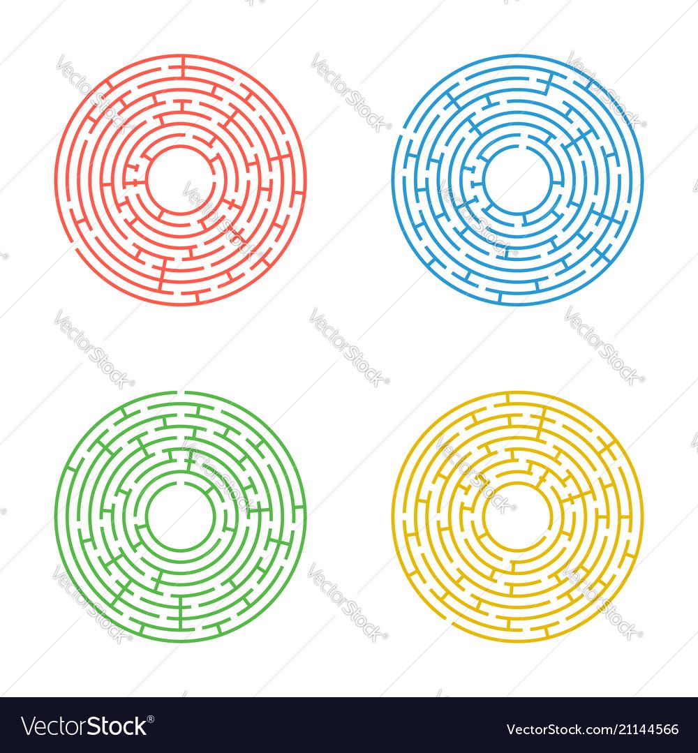 Abstract round maze a set of four labyrinths an