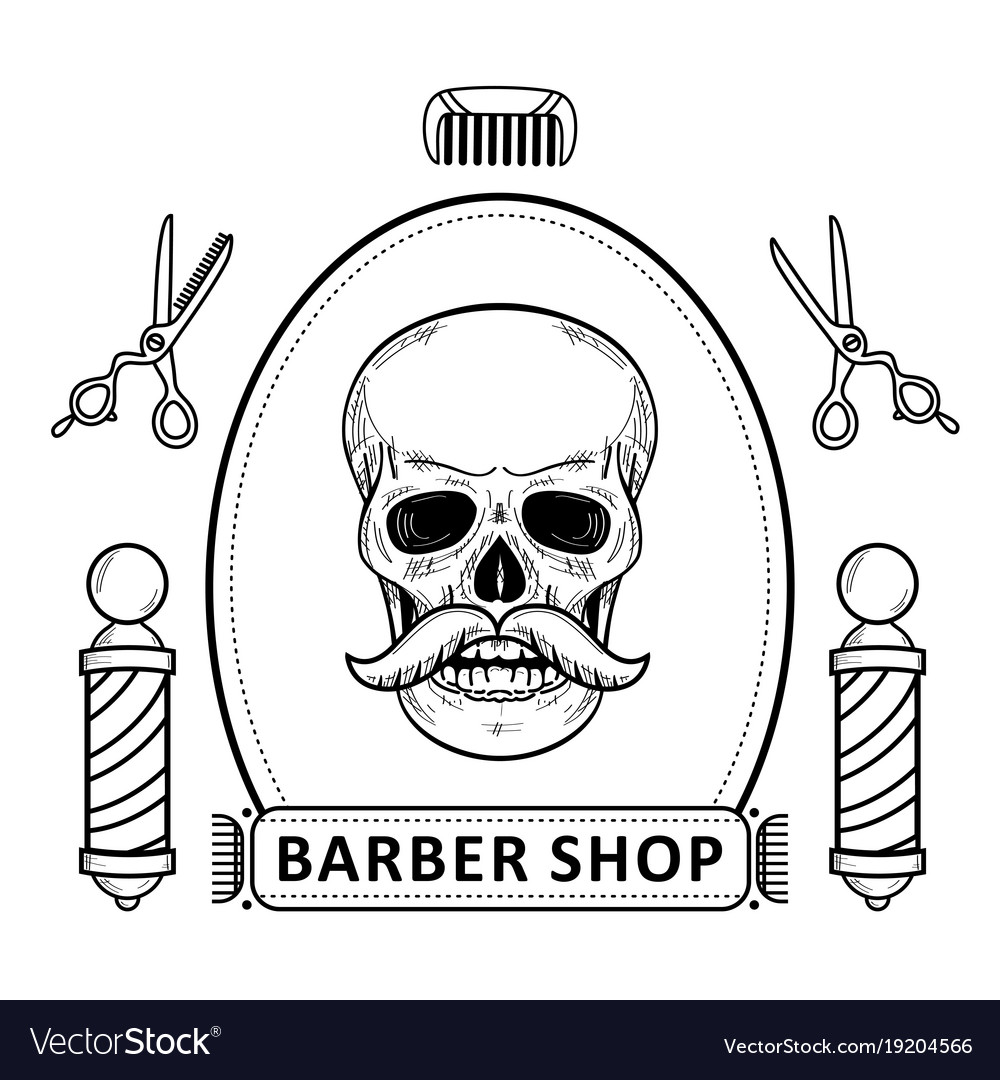 Black and white set of outlined barbershop items