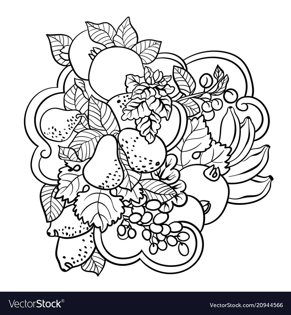 Coloring pages with fruits and abstract waves for