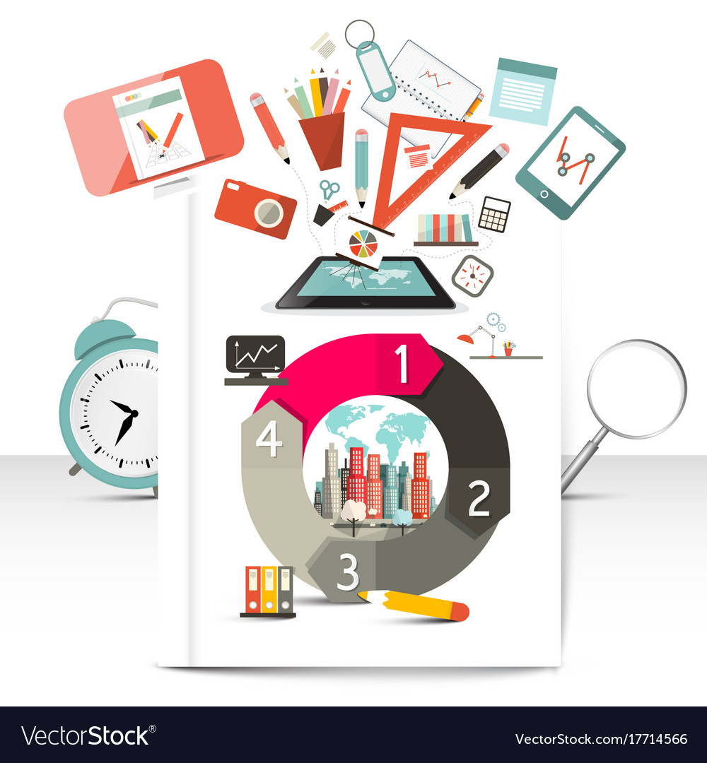 Creative infographic items school and technology