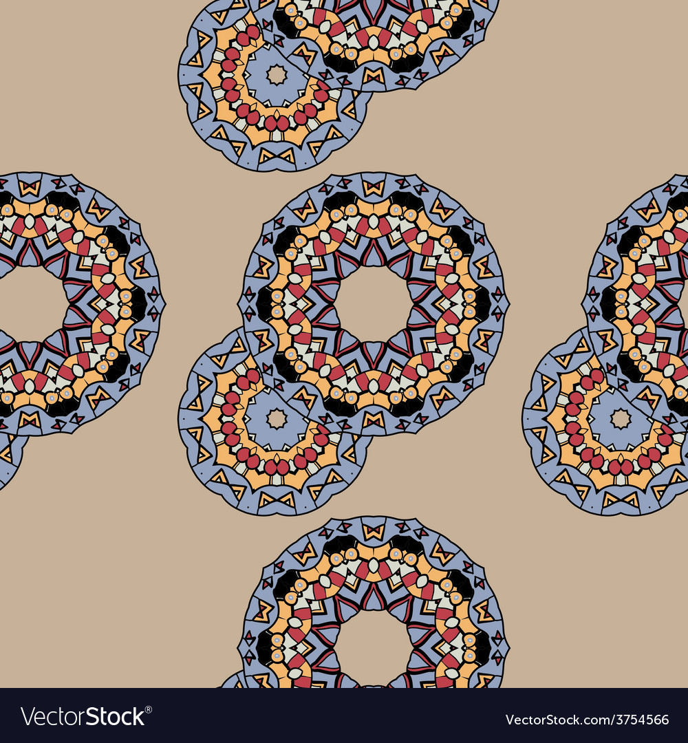 Endless ornate pattern made of indian mandalas vector image