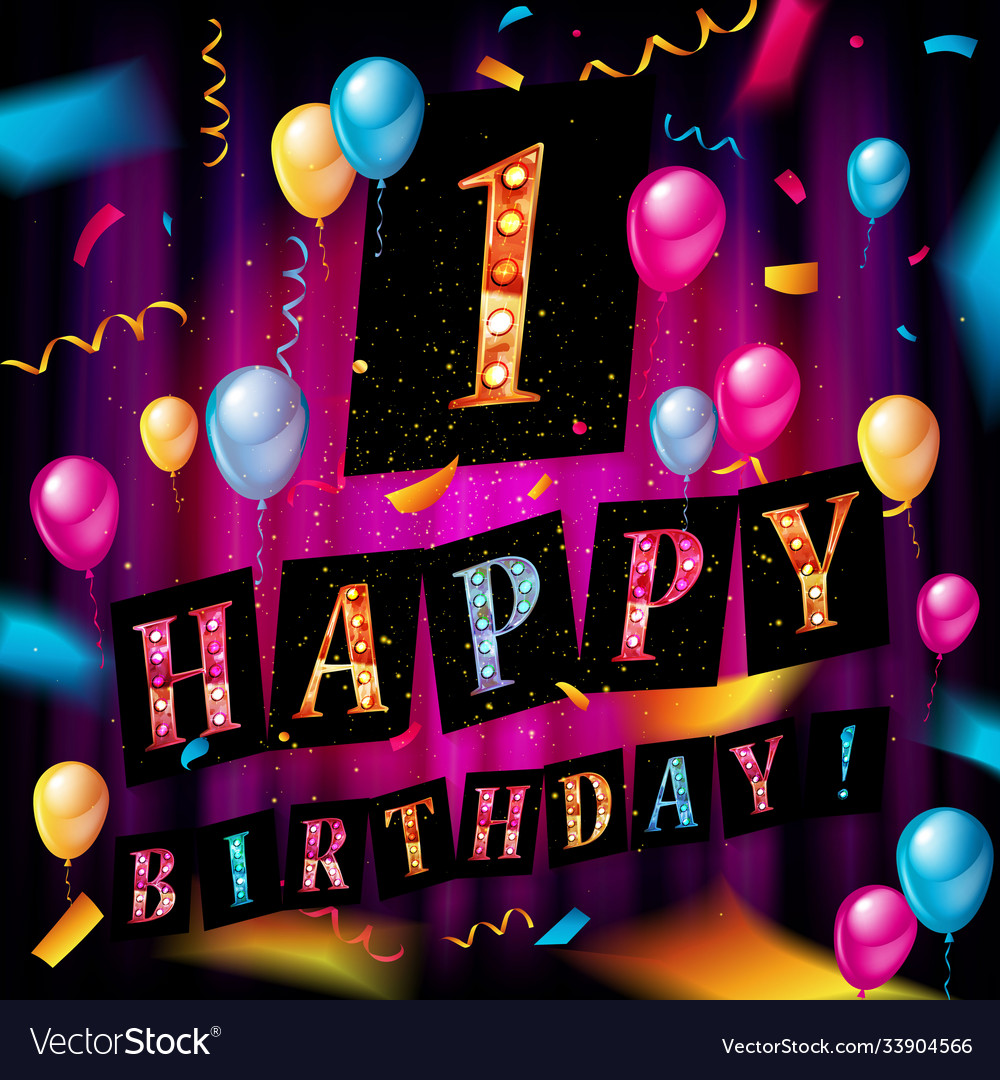 First happy birthday color card