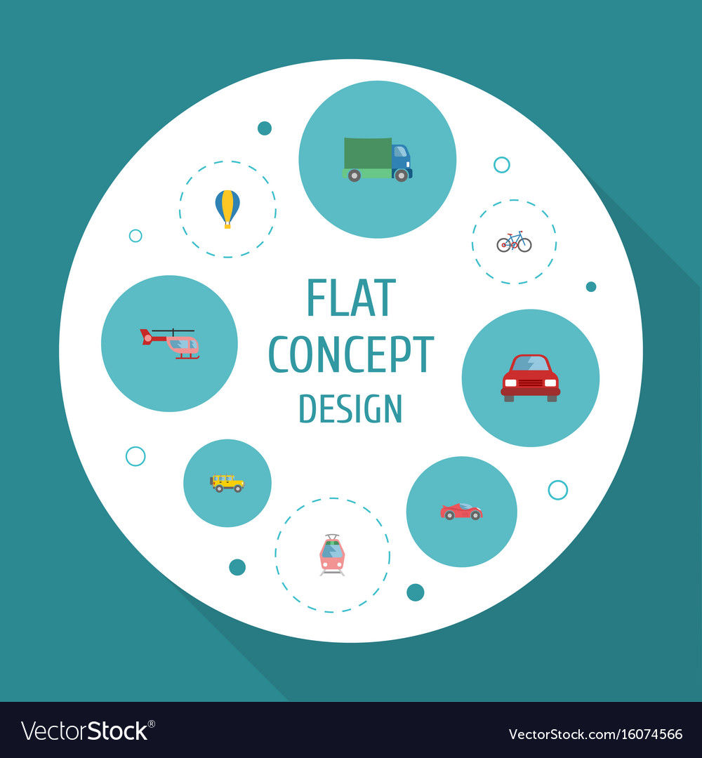 Flat icons automobile streetcar chopper and