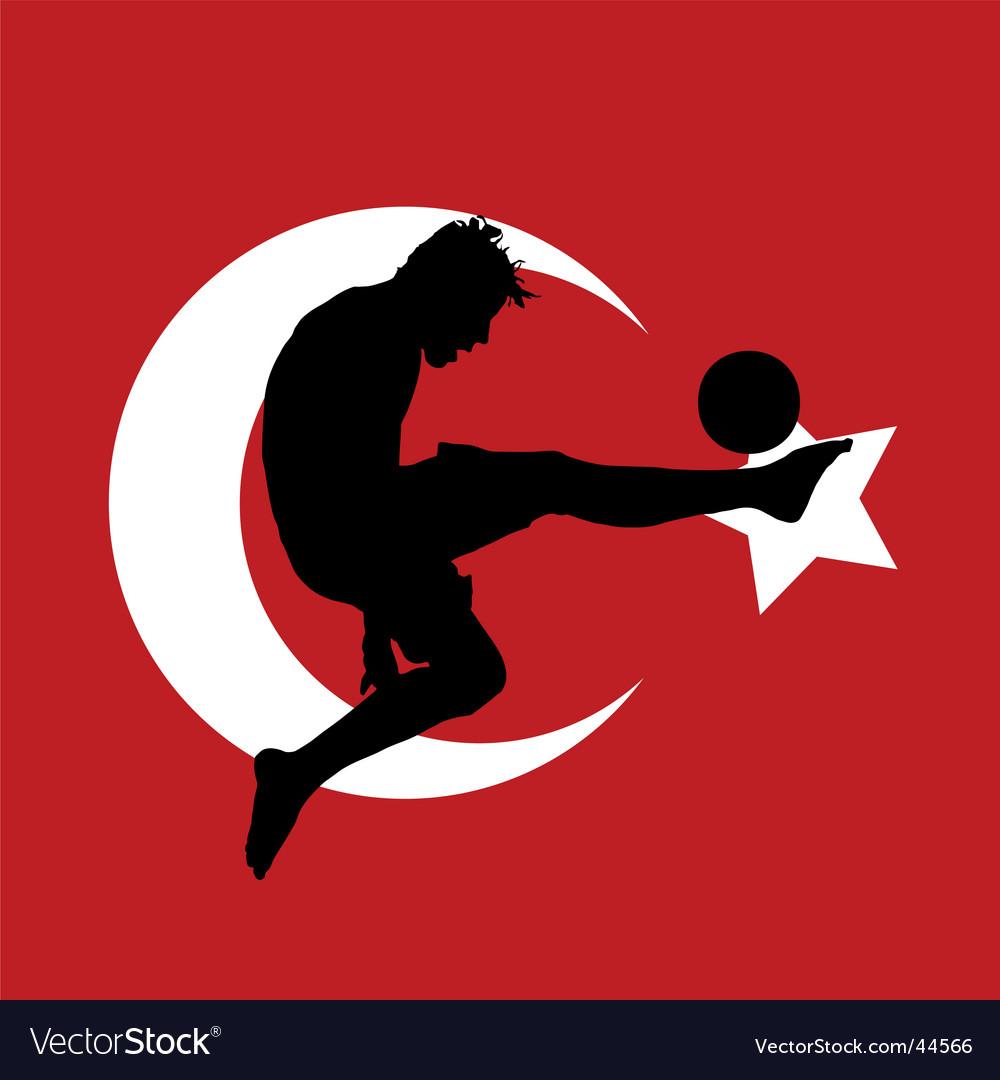 Football player with Turkish flag